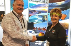 Mark Williams, CEO of ATDW with Linda Cash, Marketing Manager, Christmas Island Tourism Association.  Taken at the Australian Tourism Exchange 2017 in Sydney