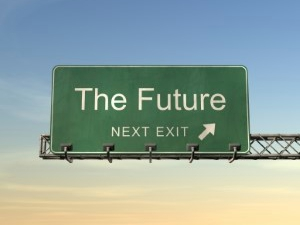 The Future Next Exit road sign