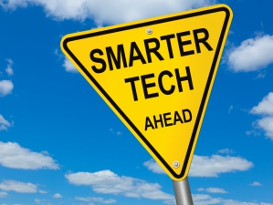 Smarter Tech ahead road sign